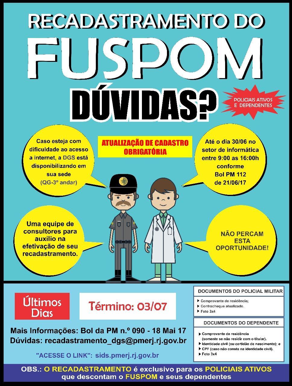 Policial Militar: ainda em dúvida sobre o recadastramento do FUSPOM? Acesse o link